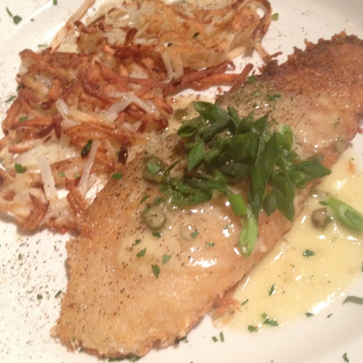 PARMESAN ENCRUSTED GEORGE'S BANK LEMON SOLE.